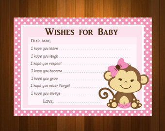 Pink Girl Monkeys Baby Shower Wish and Advice Card Printable DIY  - ONLY digital file - you print