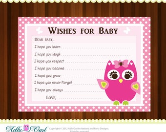 Pink Girl Owl Baby Shower Wish and Advice Card Printable DIY  - ONLY digital file - you print