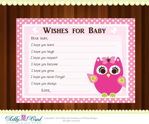 pink girl owl baby shower wish and advice card printable diy only