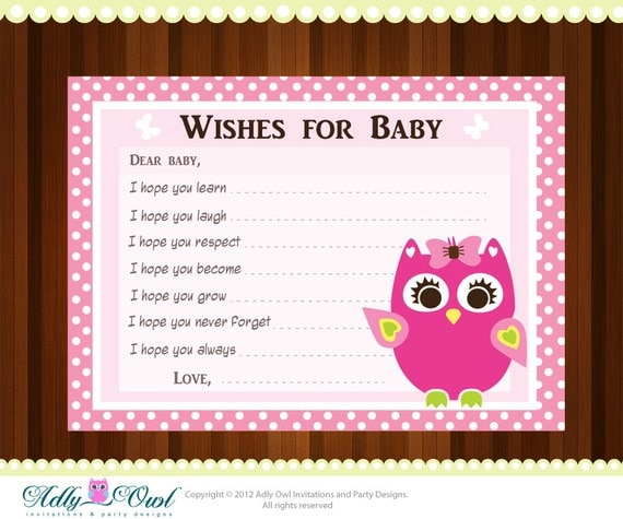 Pink Girl Owl Baby Shower Wish And Advice Card Printable Diy