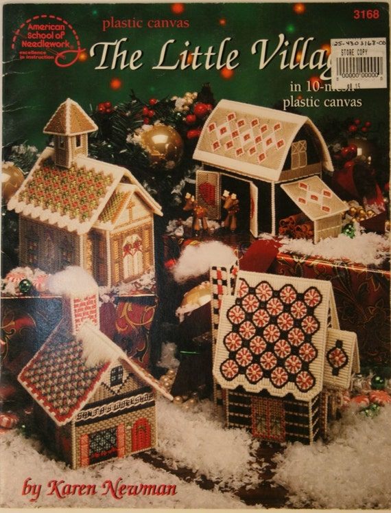 Build The Bear: Plastic Canvas Christmas Village Pattern Houses Reindeer Barn