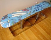 ZZIV Stainless Steel Bi-Polar Functional Modern Art Snowboard Bench Coffee Table Fancy Baby Blue Purple Fireflies Home Decor SteamPunk Snow