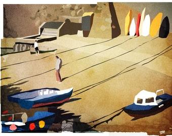 Mousehole, Cornwall art print, 210 x 297 mm