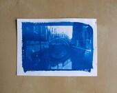 """Tirage photo cyanotype """"Pont vénitien"""" - daté et signé"""