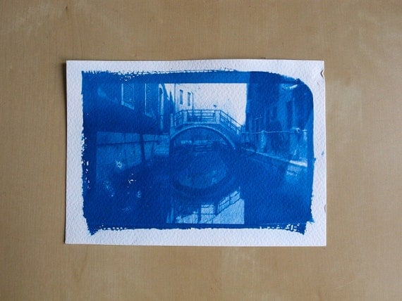 """Cyanotype photographic print """"Pont vénitien"""" - with date and signature"""