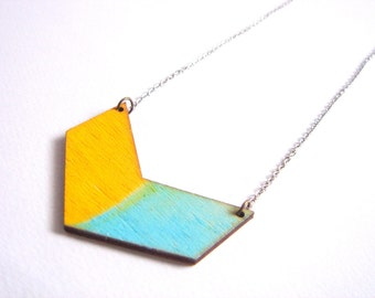 Chevron Necklace, Wood Geometric Necklace,Wood Mint Necklace,Geometric Jewelry