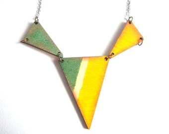 Geometric Necklace, Wood Triangles Necklace,Wood Mint Necklace,Geometric Jewelry