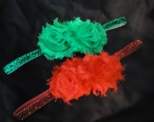 Red and Green Holiday/Christmas Glitter Headband Set - Newborn, Infant, Toddlers and Adults