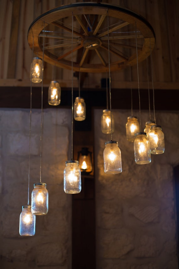 Spiral Wagon Wheel Mason Jar Chandelier Large
