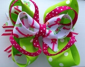 "Large ""Guitar"" stacked boutique bow- Hot Pink & Lime"