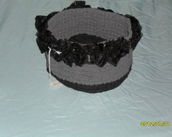 Hand Crocheted Basket made from nylon yarn with black Organza Roses as trim