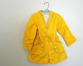 vintage 80s Sunny Days Little Girls Drawstring Hooded Jacket with Calico Trim Size 4 - vintagekidlets