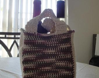 Tunisian Double Bottle Wine Tote