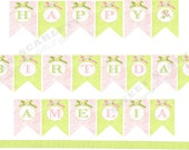 Garden Pixie Collection  - Printable CUSTOMIZED HAPPY BIRTHDAY Banner - Sweet Scarlett Events