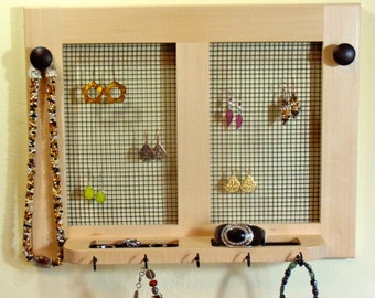 Jewelry Holder, Earring Holder, Necklace Holder , Wall Mounted jewelry Holder with Shelf