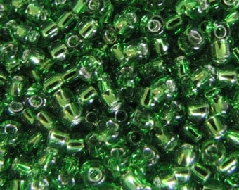 8/0 Seed Beads, Silver Lined Green Seed Beads,  4987 Green Seed Beads,  20 grams Seed Beads, Silver lined,  Japanese Seed Beads Item #110