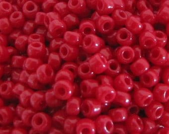 8/0 Opaque Red Seed Beads,  4463 Seed Beads, Japanese Beads, Red Seed Beads, Opaque Seed Beads,  Crafts, Beading Supplies, 10 grams Item#442