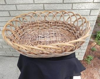 Vintage Basket  Wood Woven  Large Oval