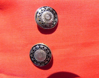 Handcrafted Pierced Earrings Made  From Vintage Cuff Links