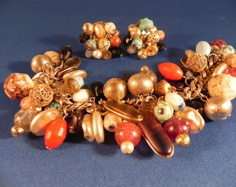 Vintage Charm Bracelet and Matching Clip Earrings Gold Tone Lucite Charms