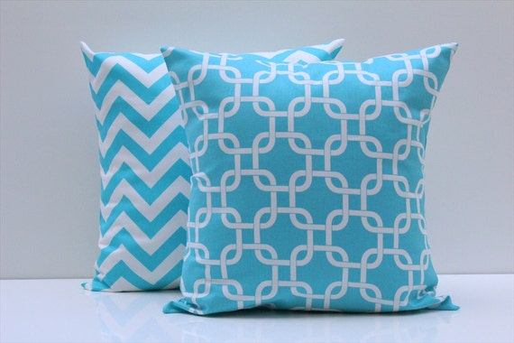"16"" Pillow Covers Turquoise Aqua Chevron Zig Zag Pillow Covers 16x16"