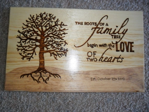 Items similar to Personalized Wood Burning Plaque Wedding ...