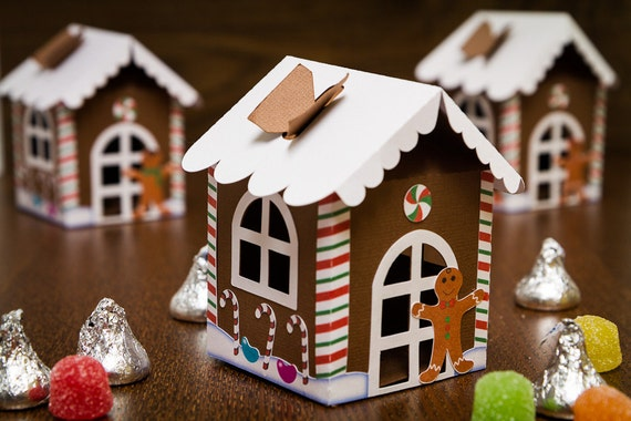 Gingerbread House Favor Boxes (Set of 4)