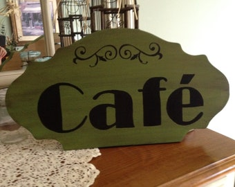 Cafe Wood Sign, Green Cafe Wood Sign, Handpainted Cafe Wood Sign