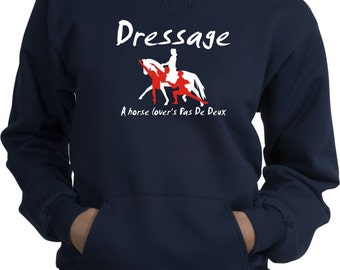 Dressage A Horse Lover's Pas de Deux Navy Blue Hooded Sweatshirt