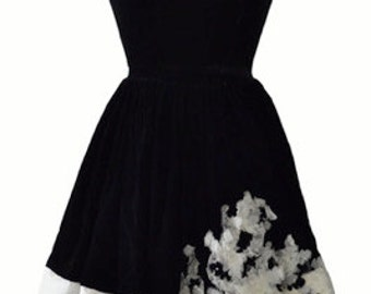 1950s vintage black velvet Claudia Young prom dress with chiffon and velvet corsage