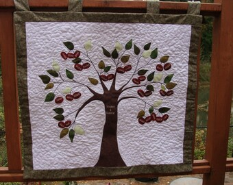 Personalized Family Cherry Tree Quilt Wall Hanging