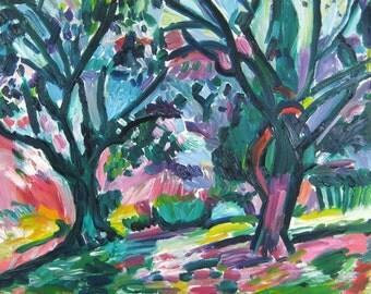 After Matisse's Landscape at Collioure (Olive Trees), Original Oil Painting, Fauve Landscape