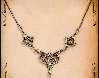 Elven necklace Drider jewelry - Handmade elf necklace with swarovski celtic knot