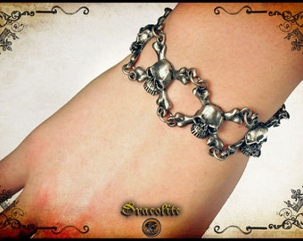 Skeleton Morgane skull bracelet bone - handmade gothic bracelet