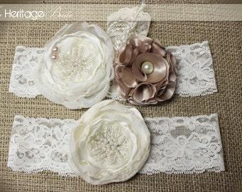 Wedding Garter, Bridal Garter, gold garter, champagne garter, Wedding, ivory garter, white garter, wedding garters, Bridal garter, Garters