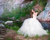 Tulle skirt for romantic bride. Bridal length tutu skirt is perfect for romantic, fairy wedding.