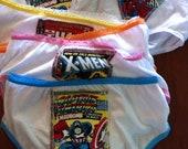 3 pairs of Superhero panties for girls featuring X Men, Batman, Spiderman, Captain America, Ironman, Thor