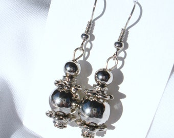 Jewelry Earrings Dangle Metal Bead Drop OOAK Gift for Her Under 10 Valentine Mothers Day Birthday