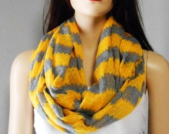 Golden Mustard  & Gray ZIG Zag   Infinity Scarf  Sweater Knit