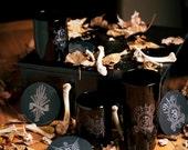 Dark Prayers Handblown and Custom Etched Black Glassware Set
