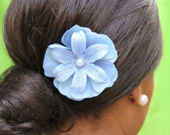 """Hair accessory, large blue flower with elegant pearl detail """"Lisa"""""""