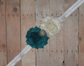 Teal/White Shabby Roses with pearl