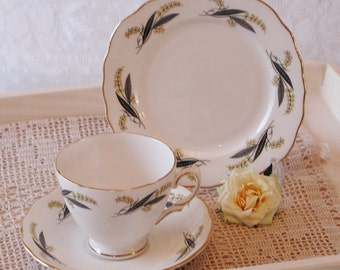 Vintage tea cup, saucer and tea plate by Royal Vale. 1950s. TT057.