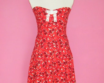 SALE Sew Juicy... Red Cherries Sweet Lolita Strapless Dress Ready to Ship UK 12/14 US 8/10