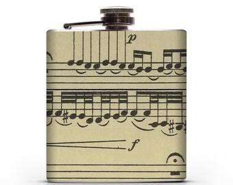 Vintage Musical Notes  - 6oz or 8oz Liquor Hip Flask