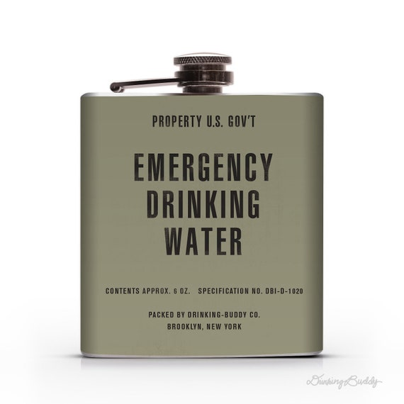 Vintage Emergency Drinking Water  - Property of U.S. Gov't - 6oz  Whiskey Hip Flask
