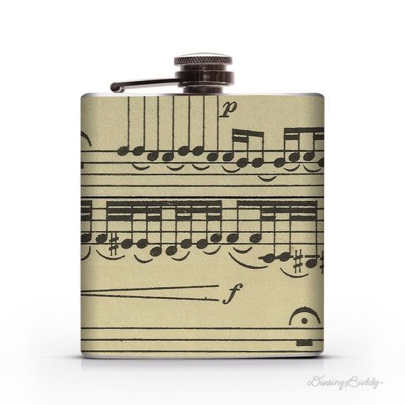 Vintage Musical Notes  - 6oz or 8oz Liquor Hip Flask