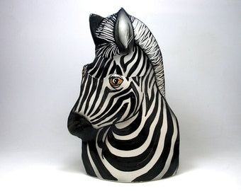 Porcelain Zebra Vase Decorative Sculpture Vessel