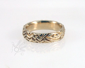 Gold Celtic Designer Wedding Band Hand Carved One of a Kind Ring