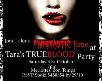 True Blood Inspired Birthday, Vampire Party, Event Halloween Invitation, goth, vampire